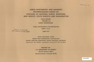 Primary view of object titled 'Aerial Radiometric and Magnetic Reconnaissance Survey of Portions of Arizona, Idaho, Montana, New Mexico, South Dakota and Washington: Final Report, Volume 2-B. Shelby Quadrangle'.