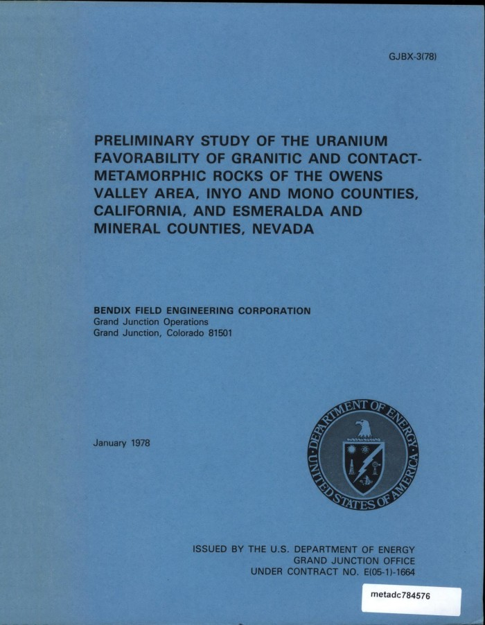Preliminary Study of the Uranium Favorability of Granitic and