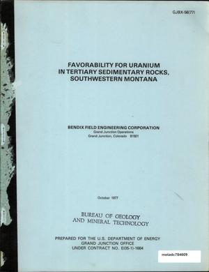 Primary view of object titled 'Favorability for Uranium in Tertiary Sedimentary Rocks, Southwestern Montana'.