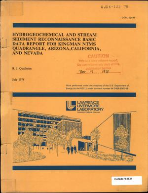 Primary view of object titled 'Hydrogeochemical and Stream Sediment Reconnaissance Basic Data Report for Kingman NTMS Quadrangle, Arizona, California, and Nevada'.