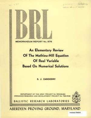Primary view of object titled 'An Elementary Review of the Mathieu-Hill Equation of Real Variable Based on Numerical Solutions'.