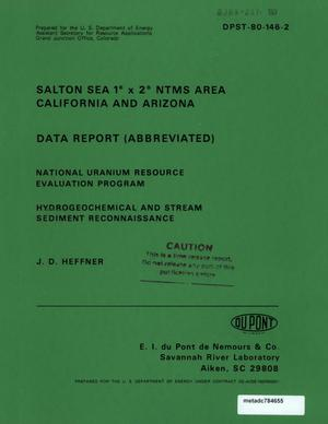 Primary view of object titled 'Salton Sea 1° x 2° NTMS Area, California and Arizona: Data Report (Abbreviated)'.
