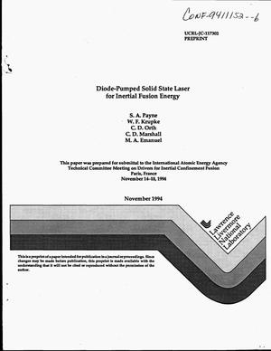 Primary view of object titled 'Diode-pumped solid state laser for inertial fusion energy'.