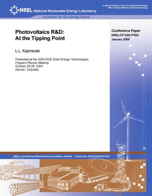 Primary view of object titled 'Photovoltaics R&D: At the Tipping Point'.