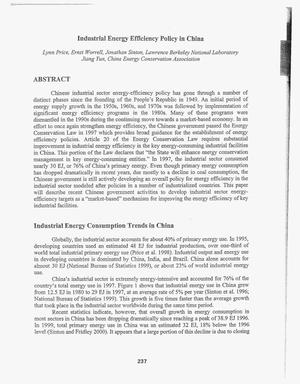 Primary view of object titled 'Industrial energy efficiency policy in China'.