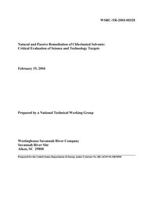 Primary view of object titled 'Natural and Passive Remediation of Chlorinated Solvents: Critical Evaluation of Science and Technology Targets'.