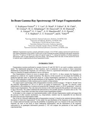 Primary view of object titled 'In-beam gamma-ray spectroscopy of target fragmentation'.