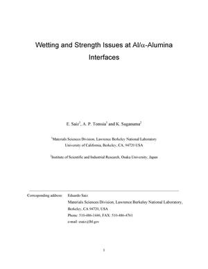 Primary view of object titled 'Wetting and strength issues at Al/alpha-alumina interfaces'.