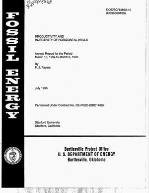 Primary view of object titled 'Productivity and injectivity of horizontal wells. Annual report for the period, March 10, 1994--March 9, 1995'.