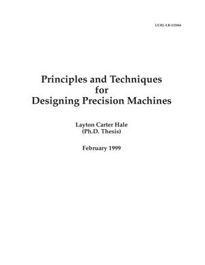 Primary view of object titled 'Principles and techniques for designing precision machines'.