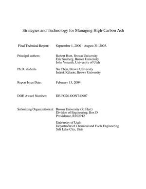 Primary view of object titled 'STRATEGIES AND TECHNOLOGY FOR MANAGING HIGH-CARBON ASH'.