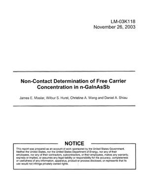 Primary view of object titled 'Non-Contact Determination of Free Carrier Concentration in n-GaInAsSb'.