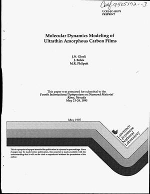 Primary view of object titled 'Molecular dynamics modeling of ultrathin amorphous carbon films'.