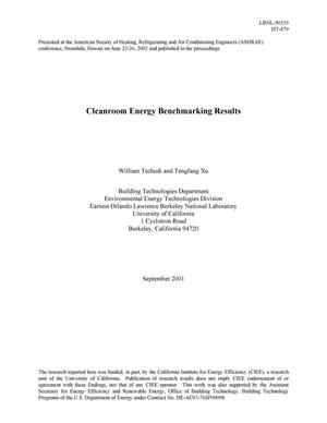 Primary view of object titled 'Cleanroom energy benchmarking results'.