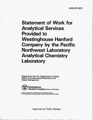 Primary view of object titled 'Statement of work for analytical services provided to Westinghouse Hanford Company by the Pacific Northwest Laboratory Analytical Chemistry Laboratory'.