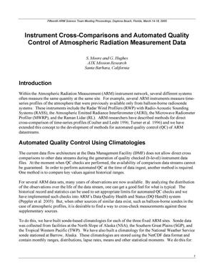 Primary view of object titled 'Instrument Cross-Comparisons and Automated Quality Control of Atmospheric Radiation Measurement Data'.