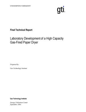 Primary view of object titled 'Final Report: Laboratory Development of a High Capacity Gas-Fired Paper Dryer'.