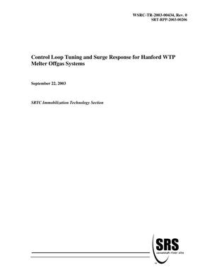 Primary view of object titled 'Control Loop Tuning and Surge Response for Hanford WTP Melter Offgas Systems'.