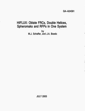Primary view of object titled 'HIFLUX: OBLATE FRCS, DOUBLE HELICES,SPHEROMAKS AND RFPS IN ONE SYSTEM'.