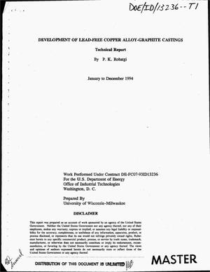 Primary view of object titled 'Development of lead-free copper alloy-graphite castings. Technical report, January 1994--December 1994'.