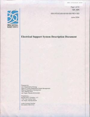 Primary view of object titled 'ELECTRICAL SUPPORT SYSTEM DESCRIPTION DOCUMENT'.
