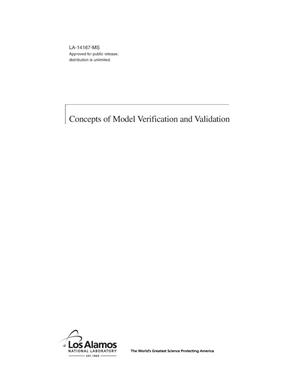 Primary view of object titled 'Concepts of Model Verification and Validation'.