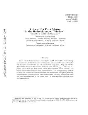 Primary view of object titled 'Axionic hot dark matter in the hadronic axion window'.