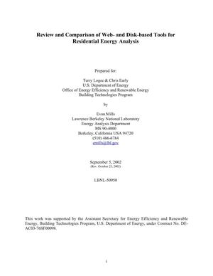 Primary view of object titled 'Review and comparison of web- and disk-based tools for residentialenergy analysis'.