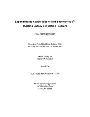 Primary view of object titled 'EXPANDING THE CAPABILITIES OF DOE'S ENERGYPLUS BUILDING ENERGY SIMULATION PROGRAM'.
