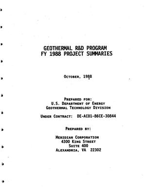Primary view of object titled 'Geothermal R&D Program FY 1988 Project Summaries'.