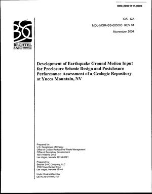 Primary view of object titled 'Development of Earthquake Ground Motion Input for Preclosure Seismic Design and Postclosure Performance Assessment of a Geologic Repository at Yucca Mountain, NV'.