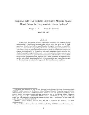 Primary view of object titled 'SuperLU{_}DIST: A scalable distributed-memory sparse direct solver for unsymmetric linear systems'.