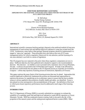 Primary view of object titled 'Step-Wise Repository Licensing-Implementing the Scientific and Legislative Vision for the Next Phase of the Yucca Mountain Project'.