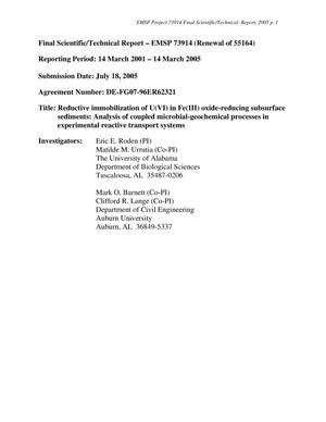 Primary view of object titled 'Final Scientific/Technical Report-EMSP 73914'.