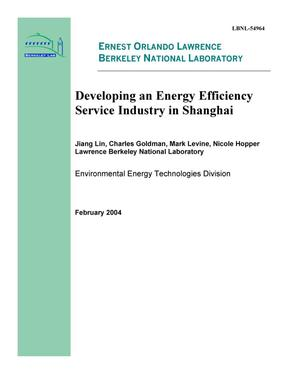 Primary view of object titled 'Developing an energy efficiency service industry in Shanghai'.