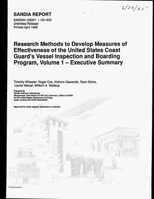 Primary view of object titled 'Research methods to develop measures of effectiveness of the United States Coast Guard`s Vessel Inspection and Boarding Program, Volume 1 - executive summary'.