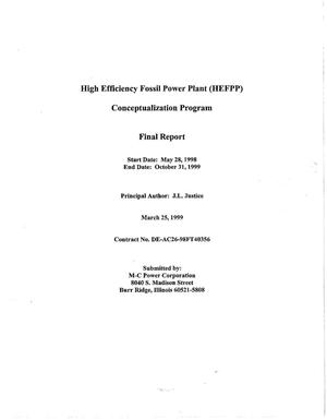 Primary view of object titled 'HIGH EFFICIENCY FOSSIL POWER PLANT (HEFPP) CONCEPTUALIZATION PROGRAM'.