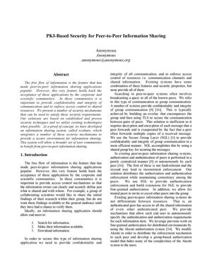 Primary view of object titled 'PKI-based security for peer-to-peer information sharing'.