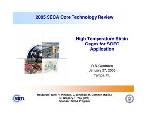Primary view of object titled 'High Temperature Strain Gages for SOFC Application'.