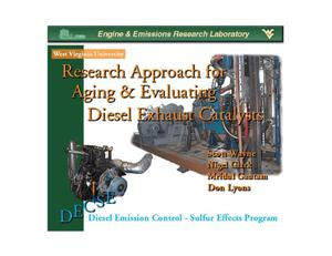 Primary view of object titled 'Research Approach for Aging and Evaluating Diesel Exhaust catalysts'.