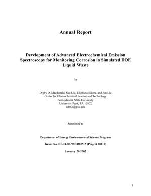 Primary view of object titled 'Development of Advanced Electrochemical Emission Spectroscopy for Monitoring Corrosion in Simulated DOE Liquid Waste'.