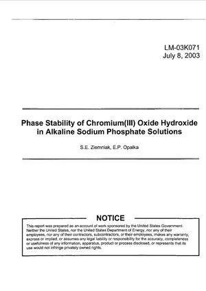 Primary view of object titled 'Phase Stability of Chromium(III) Oxide Hydroxide in Alkaline Sodium Phosphate Solutions'.