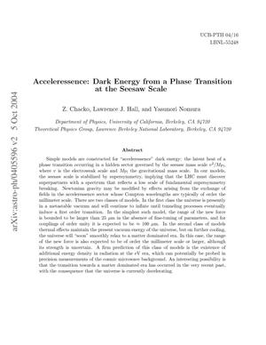 Primary view of object titled 'Acceleressence: Dark energy from a phase transition at the seesawscale'.