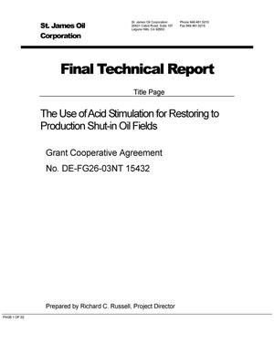 Primary view of object titled 'The Use of Acid Stimulation for Restoring to Production Shut-in OIl Fields'.