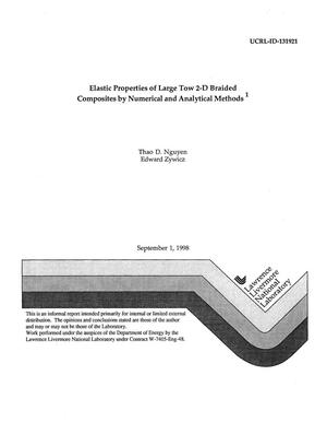 Primary view of object titled 'Elastic properties of large tow 2-D braided composites by numerical and analytical methods'.