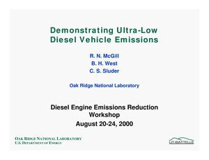 Primary view of object titled 'Demonstrating Ultra-Low Diesel Vehicle Emissions'.