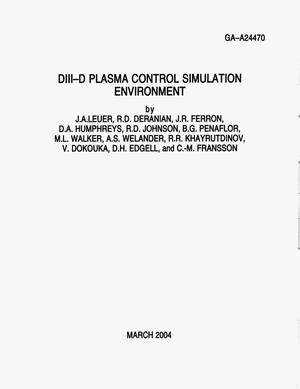 Primary view of object titled 'DIII-D PLASMA CONTROL SIMULATION ENVIRONMENT'.
