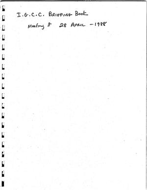 Primary view of object titled 'Briefing Book, Interagency Geothermal Coordinating Council (IGCC) Meeting of April 28, 1988'.