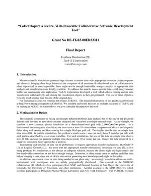 "Primary view of object titled 'Final Report ""CoDeveloper: A Secure Web-Invocable Collaborative Software Development Tool""'."
