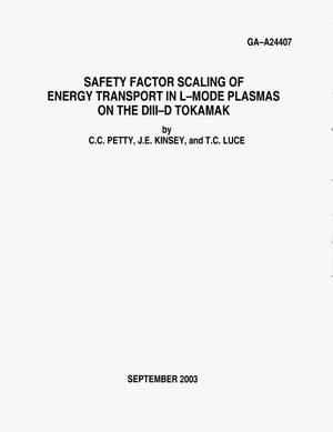 Primary view of object titled 'SAFETY FACTOR SCALING OF ENERGY TRANSPORT IN L-MODE PLASMAS ON THE DIII-D TOKAMAK'.